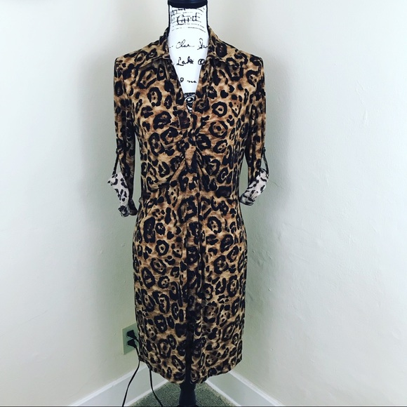 INC International Concepts Dresses & Skirts - INC front ruched Leopard 🐆 Shirt Dress